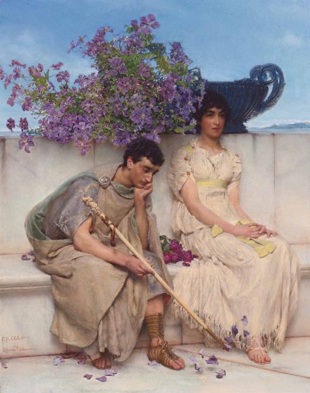 An eloquent silence *oil on panel *42 x 33 cm *1890 *signed l.l.: OP.?CCCI?- / L.? Alma Tadema