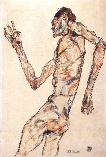 Dall'anatomia bislacca e bizzarra, che sembra sottintendere una lotta interiore che si riflette sul corpo.