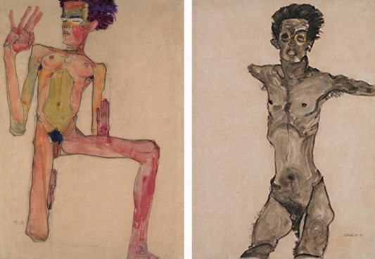 Egon-Schiele-Kneeling-Nude-with-Raised-Hands-1910-Left-Nude-Self-Portrait-in-Grey-with-Open-Mouth-1910-Right