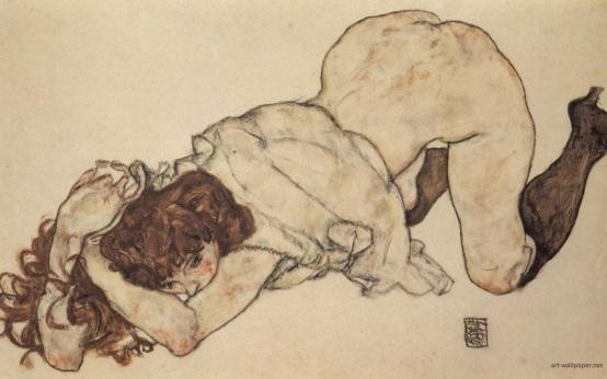 i personaggi di Schiele sono così attaccati alla vita, sempre sull'orlo di una nevrosi,