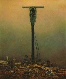 Beksinski ci mostra l'alba di un mondo senza luce, dettato dagli ultimi spiragli dell'elettricità,