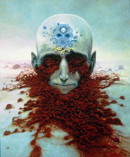 Ciò che lui ci mostra è il mondo di una mente senza speranza, la sua Una mente che è rimasta in coma dopo un serio incidente, che vomita nella pittura l'Inferno che ha vissuto