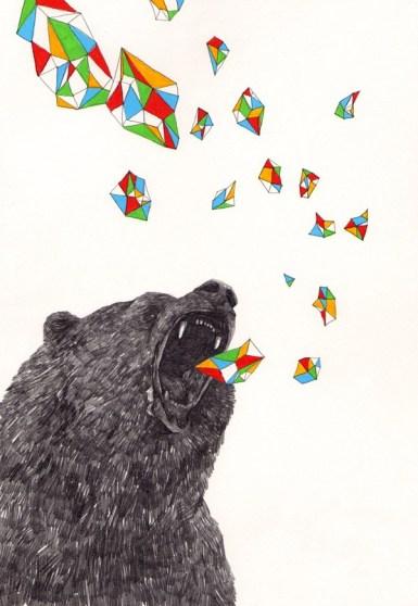 la forma dell'aria che un orso emette quando esprime qualche verso o quando il suo respiro si condensa