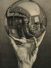 0016901 M.C. Escher Hand met spiegelende bol (zelfportret in bolspiegel) Data2008/2008E0208