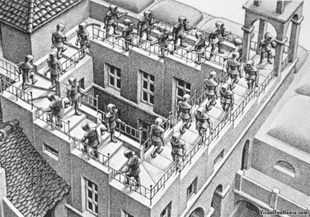 Se fissiamo troppo a lungo un opera di Escher, finiamo per diventare noi stessi illusioneAbbranchiamo la luce di un meccanismo, di una vita priva di avventura, monotona e bizzarra a rin