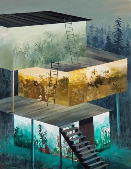 2 così come in queste opere si fondono più piani di vari mondi, allo stesso modo c'è una fusione fra stili pittorici