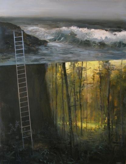 le foreste diventano liquide, e le onde diventano cielo mentre delle scale ci indicano la via della gravità, come un Bifrost elementare
