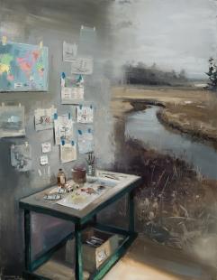 Una sola, vasta tela; in essa due e più quadri che si incontrano. Questo e cio che sembra l'arte di Jeremy Miranda