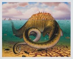 L'antico vive nel moderno, e le creature di ogni immaginario esistente coabitano qui, nei quadri di Yerka