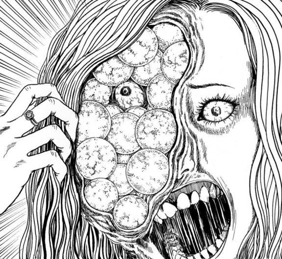 30 ciò che junji ito ama più di tutto infatti è portare l'elemento del terrificante letteralmente all'ennesima potenza, moltiplicando arti, occhi,
