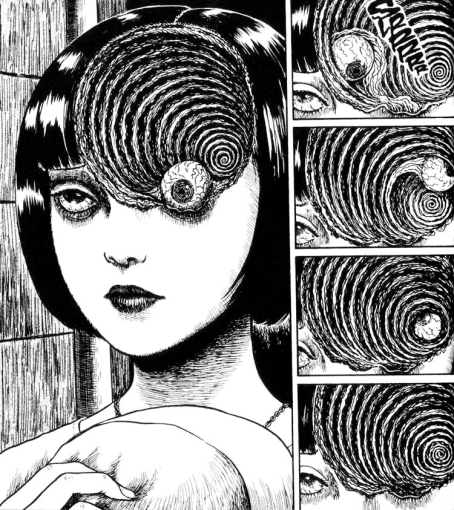 33 la mente umana nell'immaginario di junji ito prende la forma della realtà che la circonda, di un maelstrom, un pozzo oscuro senza fondo, che ci fa cadere sempre piu