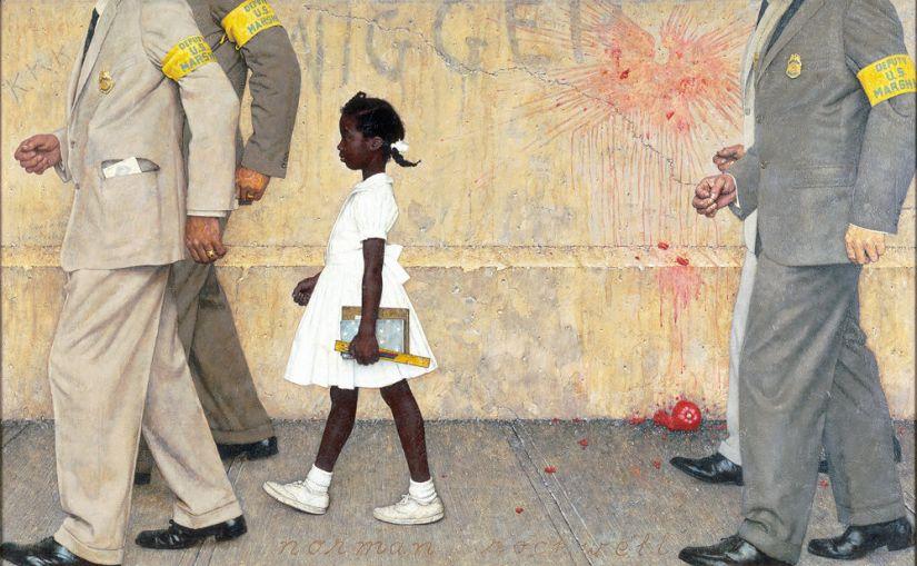 36 Ruby Bridges che attraversa il cortile della scuola e Norman che spacca il confine fra ciò