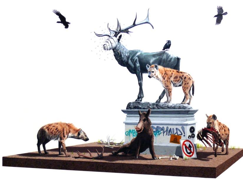 37L_uomo è un animale sociale diceva Aristotele, ma in questi quadri ogni animale è un animale sociale in quanto ha assimilato la nostra concezione di comunitadi creature stipate e costrette all_entrar